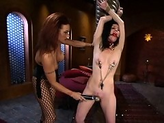 OTK, pussy licking, ass licking, strap-on sex in bondage and more