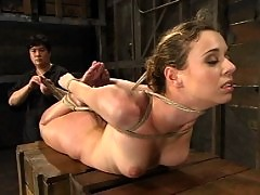 Sir C test Lola with caning, electric shock, and nipple torture