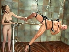 Xana with her large breasts get flogged and sprayed