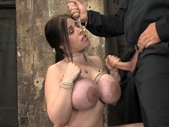 Daphne Rosen and her 34G monster breasts face tough bondage